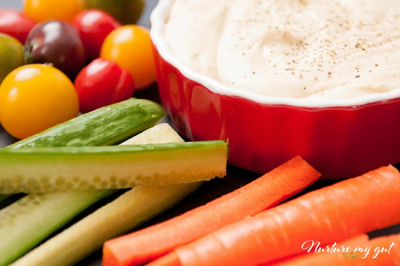 Hummus with Veggies-25 Gluten Free Snacks for Kids