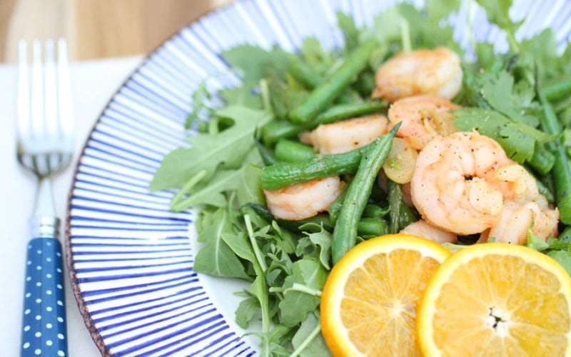 "Orange Garlic ""Sustainable"" Shrimp w/Green Beans & Arugula"