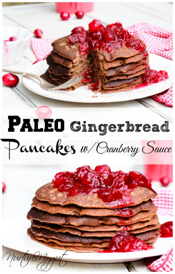 paleo gingerbread pancakes with cranberry- sauce