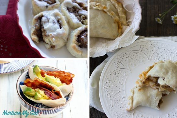 grain free pita bread, cinnamon rolls and empanadas
