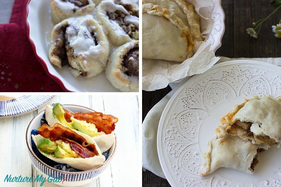 grain free pita bread, cinnamon rolls and empanadas