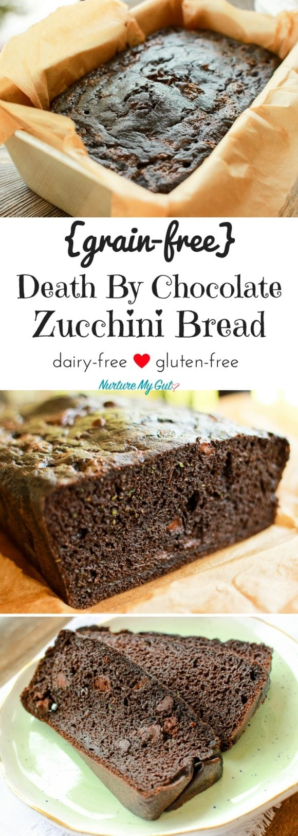 grain free chocolate zucchini bread with chocolate chips