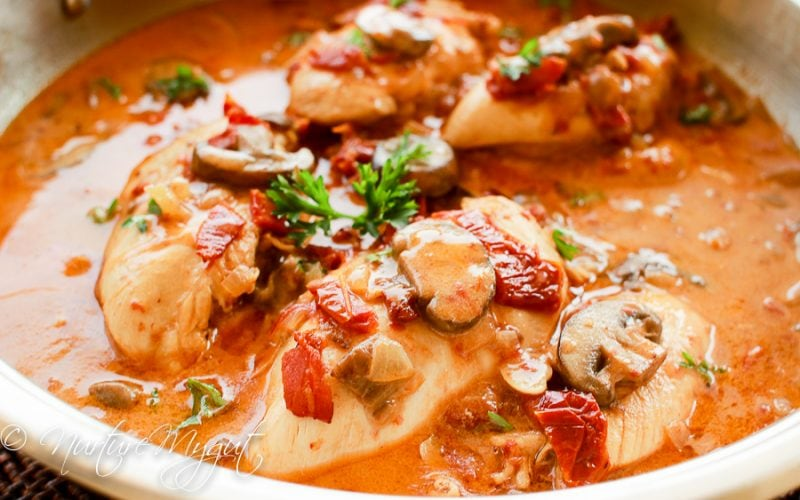 Paleo Honey Dijon Chicken with Bacon, Mushrooms & Sun-Dried Tomatoes