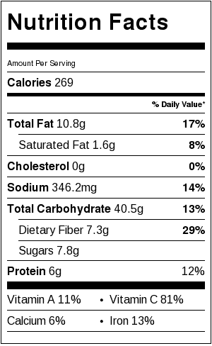 fantastic roasted vegetables nutritional information