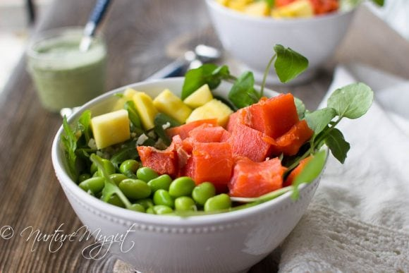 Easy Smoked Salmon Poke Bowl with Creamy Cilantro Dressing