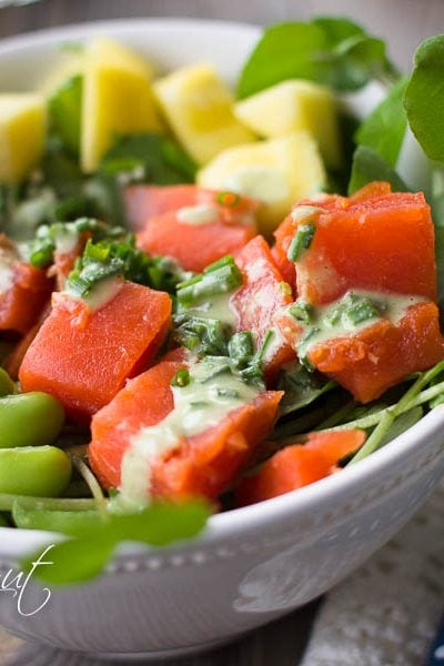 Easy Smoked Salmon Poke Bowl w/Cilantro Cream Dressing