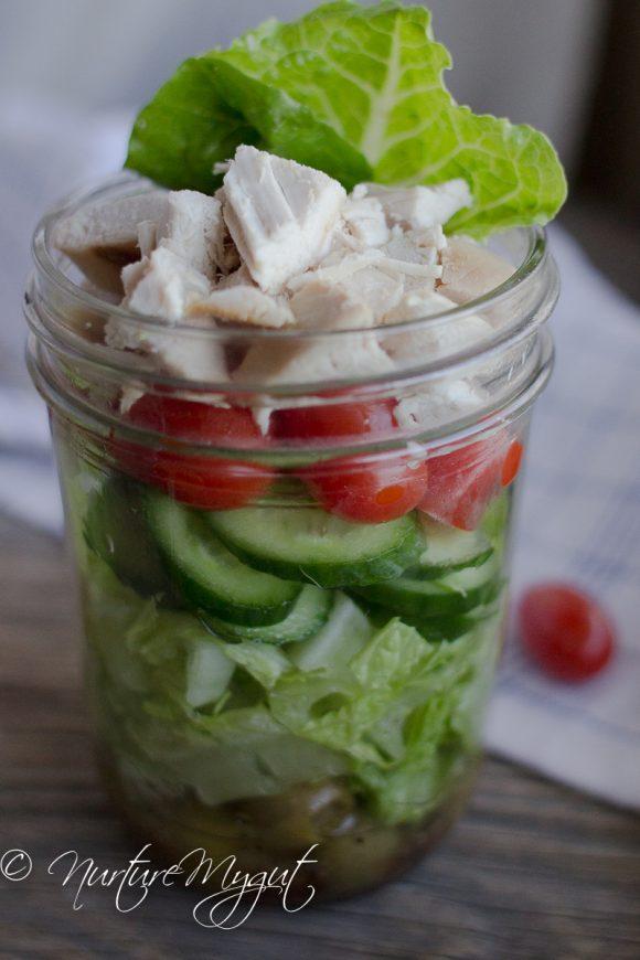 Easy Paleo Greek Mason Jar Salad Recipe