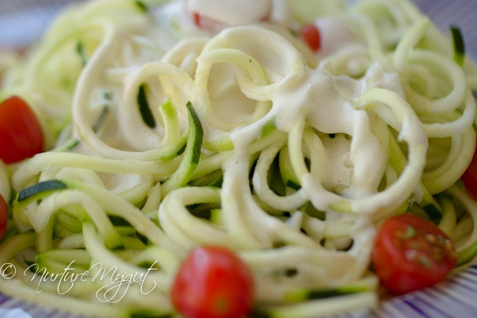 5 Minute Dreamy Vegan Alfredo with Zucchini Noodles AKA Zoodles