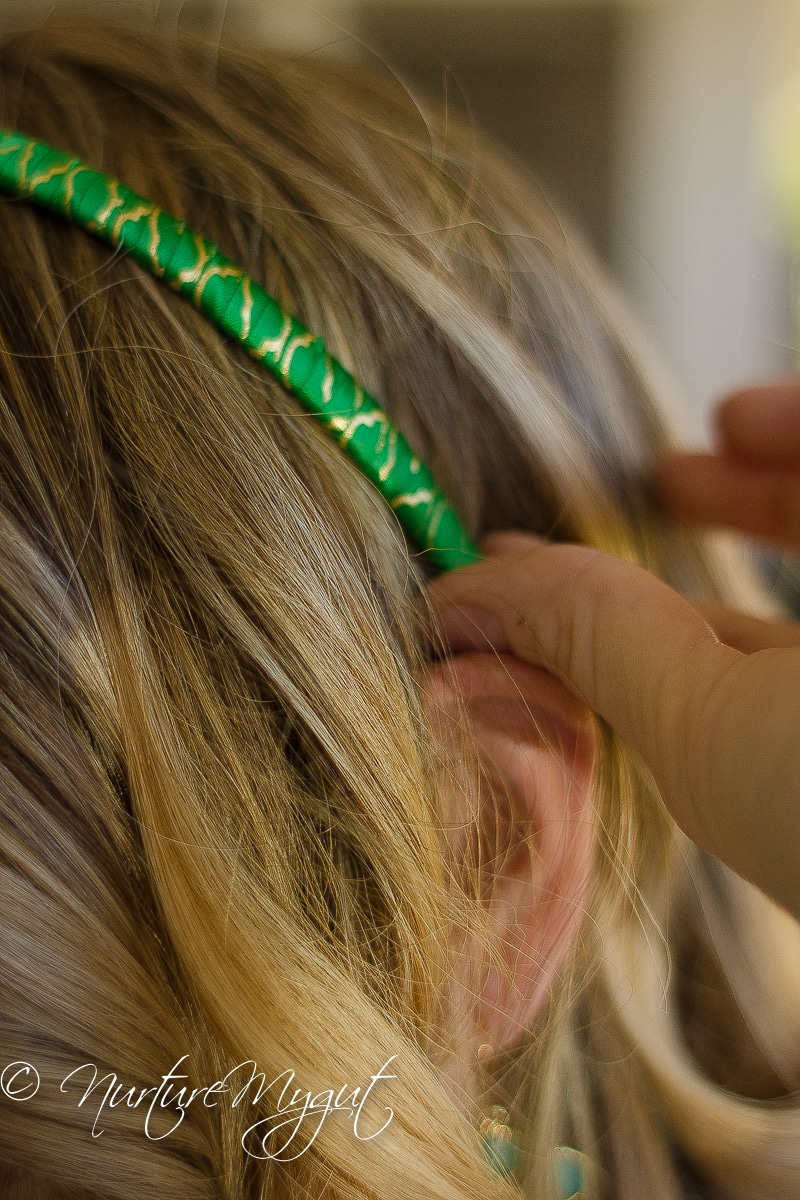 DIY St. Patrick's Day Felted Green Glitter Heart Headband