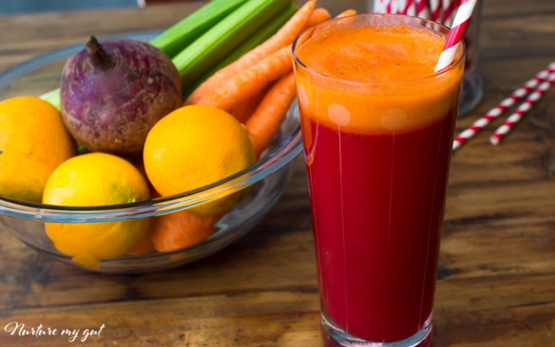 Easy Red Rocket Juice Recipe {Beet, Carrot, Celery, Orange}