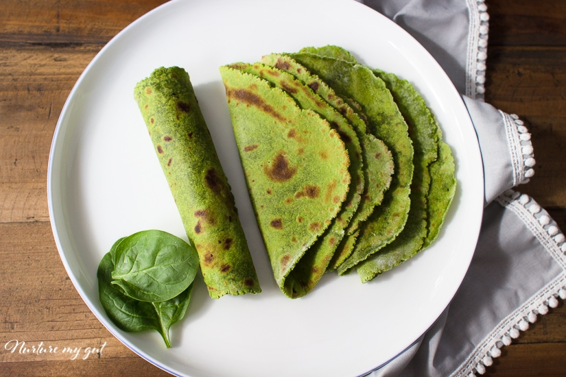 Homemade Gluten Free Spinach Tortillas