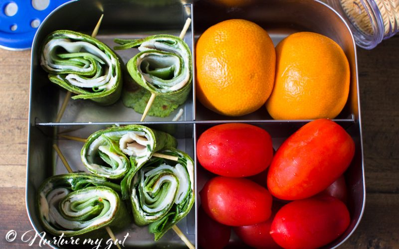 Gluten Free Spinach Turkey Cucumber Roll-Ups