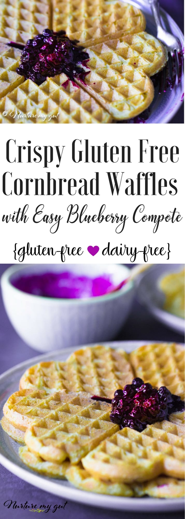 Gluten Free Cornbread Waffles with Easy Blueberry Compote