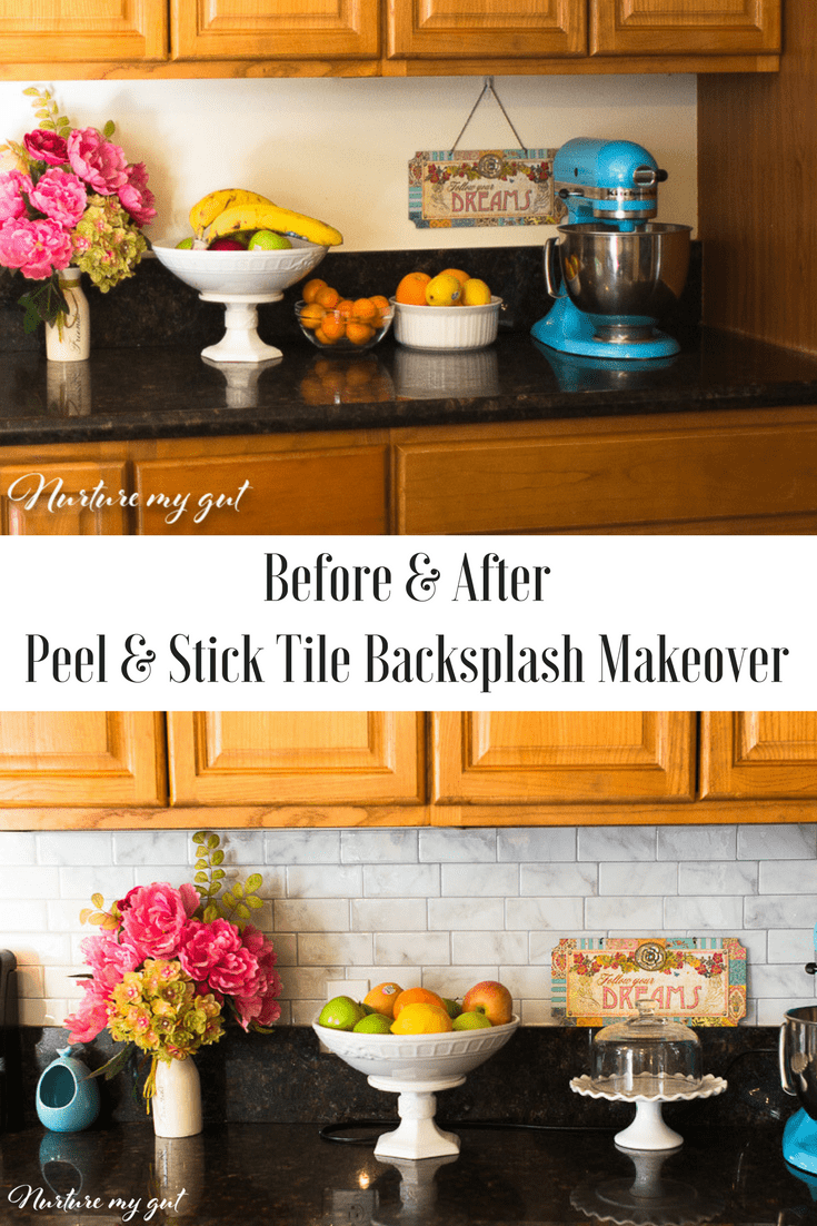 Before & After Peel & Stick Tiles Kitchen Makeover