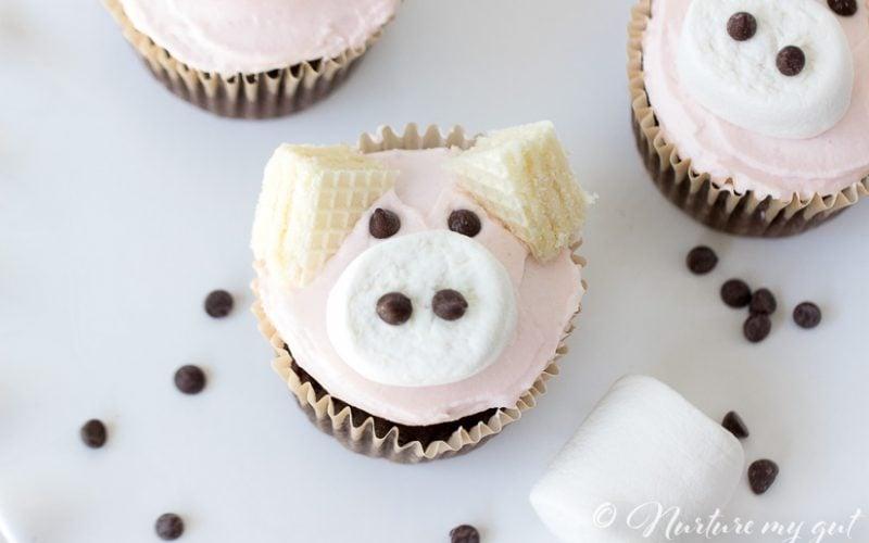 Gluten Free Pink Pig Cupcake Tutorial