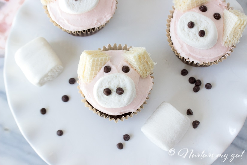 Gluten Free Pink Pig Cupcakes