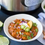 Instant Pot Chili Beans in a bowl with toppings