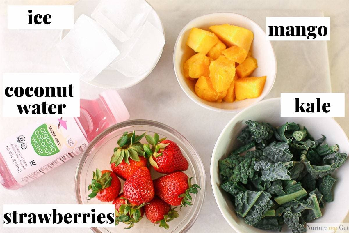 ingredients in bowls for green smoothie