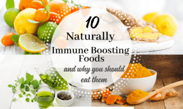 collage of immune boosting foods-citrus, ginger, green tea, turmeric