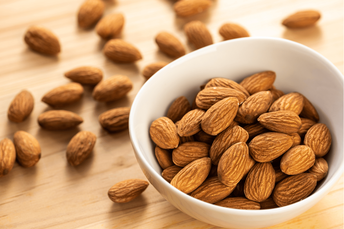 almonds in white bowl